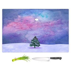 Artistic Kitchen Bar Cutting Boards | Rachel Brown - Winter Tree | Nature Trees Snow Christmas Holidays