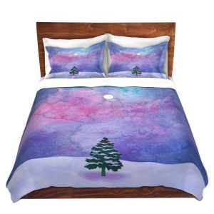 Artistic Duvet Covers and Shams Bedding | Rachel Brown - Winter Tree | Nature Trees Snow Christmas Holidays