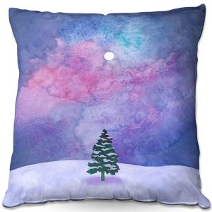 Decorative Outdoor Patio Pillow Cushion | Rachel Brown - Winter Tree | Nature Trees Snow Christmas Holidays