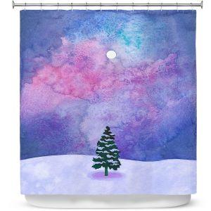 Premium Shower Curtains | Rachel Brown - Winter Tree | Nature Trees Snow Christmas Holidays