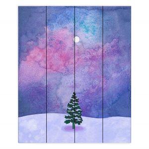 Decorative Wood Plank Wall Art | Rachel Brown - Winter Tree | Nature Trees Snow Christmas Holidays