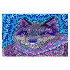 Decorative Floor Covering Mats | Rachel Brown - Wolfadelic 3 | psychedelic Wild Animal
