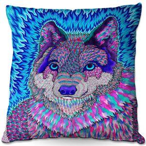 Decorative Outdoor Patio Pillow Cushion | Rachel Brown - Wolfadelic 3 | psychedelic Wild Animal