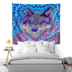 Artistic Wall Tapestry   Rachel Brown - Wolfadelic 3   psychedelic Wild Animal