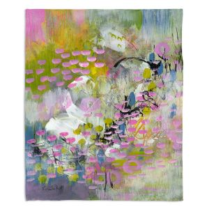 Decorative Fleece Throw Blankets | Rina Patel Art - Calla Lillies | Abstract Floral Flower