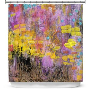 Premium Shower Curtains | Rina Patel Art - Go With the Heart | Abstract Floral Flower