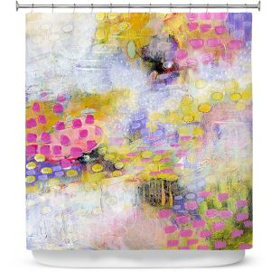 Premium Shower Curtains | Rina Patel Art - Morning Mist | Abstract Floral Flower