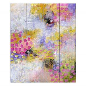 Decorative Wood Plank Wall Art | Rina Patel Art - Morning Mist | Abstract Floral Flower