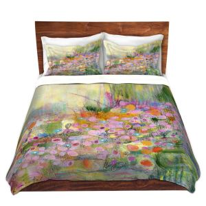 Artistic Duvet Covers and Shams Bedding | Rina Patel Art - Poppies | Abstract Floral Flower