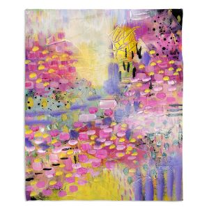 Artistic Sherpa Pile Blankets | Rina Patel Art - Spring Has Sprung 2 | Abstract Floral Flower