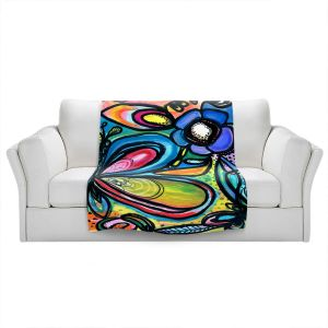 Artistic Sherpa Pile Blankets | Robin Mead - Abstract Dazzle | Flower Abstract