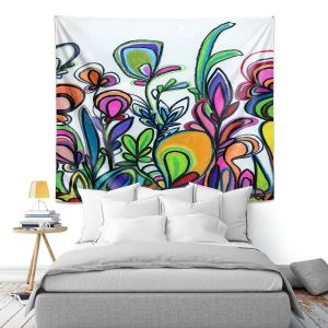 Artistic Wall Tapestry   Robin Mead - Abstract Spice of Life   Flower Abstract
