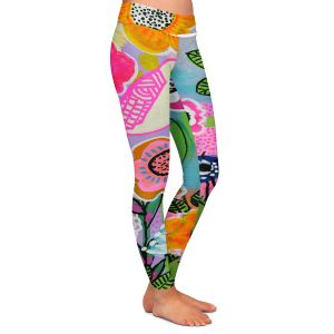 Casual Comfortable Leggings | Robin Mead - Beauty Bird 1 | Nature Flowers Floral Pattern