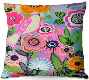 Decorative Outdoor Patio Pillow Cushion | Robin Mead - Beauty Bird 1 | Nature Flowers Floral Pattern