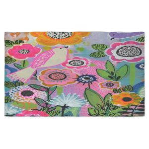 Artistic Pashmina Scarf | Robin Mead - Beauty Bird 1 | Nature Flowers Floral Pattern