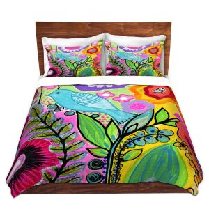Artistic Duvet Covers and Shams Bedding | Robin Mead - Beauty Bird 3 | Nature Flowers Floral Pattern