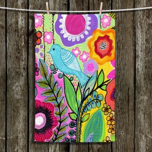 Unique Hanging Tea Towels | Robin Mead - Beauty Bird 3 | Nature Flowers Floral Pattern