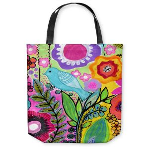 Unique Shoulder Bag Tote Bags | Robin Mead - Beauty Bird 3 | Nature Flowers Floral Pattern