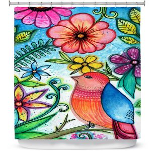 Premium Shower Curtains | Robin Mead - Bird Blessing | nature animal portrait