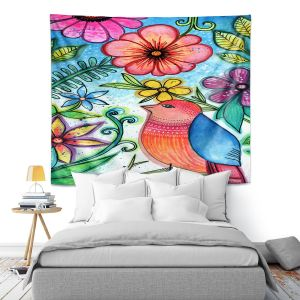 Artistic Wall Tapestry   Robin Mead - Bird Blessing   nature animal portrait