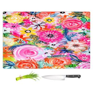 Artistic Kitchen Bar Cutting Boards | Robin Mead - Blissful | flower pattern simple abstract