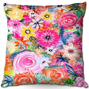 Decorative Outdoor Patio Pillow Cushion | Robin Mead - Blissful | flower pattern simple abstract