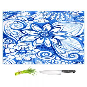 Artistic Kitchen Bar Cutting Boards | Robin Mead - Blues Flower | Floral Nature