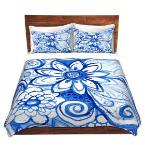 Artistic Duvet Covers and Shams Bedding   Robin Mead - Blues Flower   Floral Nature
