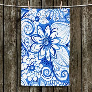 Unique Hanging Tea Towels | Robin Mead - Blues Flower | Floral Nature
