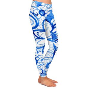 Casual Comfortable Leggings | Robin Mead - Blues Flower | Floral Nature