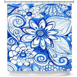 Premium Shower Curtains | Robin Mead - Blues Flower | Floral Nature