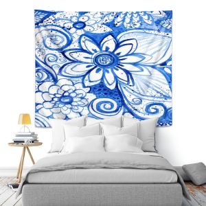 Artistic Wall Tapestry   Robin Mead - Blues Flower   Floral Nature