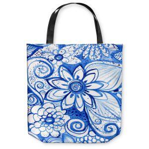 Unique Shoulder Bag Tote Bags | Robin Mead - Blues Flower | Floral Nature