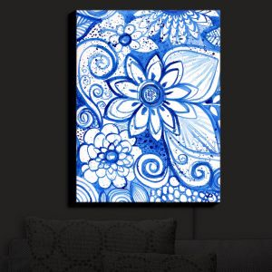 Nightlight Sconce Canvas Light | Robin Mead - Blues Flower