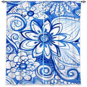 Decorative Window Treatments   Robin Mead - Blues Flower   Floral Nature