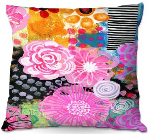 Decorative Outdoor Patio Pillow Cushion | Robin Mead - Bounty 1 | Floral Pattern Flowers Nature