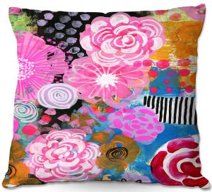 Decorative Outdoor Patio Pillow Cushion | Robin Mead - Bounty 2 | Floral Pattern Flowers Nature