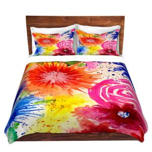 Artistic Duvet Covers and Shams Bedding | Robin Mead - Burst | floral abstract pattern