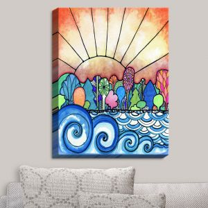 Decorative Canvas Wall Art | Robin Mead - Change Of Seasons | Sun Water Trees Colorfu;