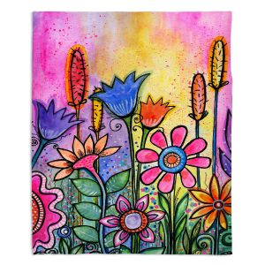 Artistic Sherpa Pile Blankets | Robin Mead - Chasitys Garden | Floral Flowers Daisy Tulips