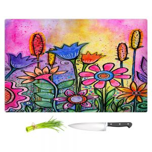 Artistic Kitchen Bar Cutting Boards | Robin Mead - Chasitys Garden | Floral Flowers Daisy Tulips