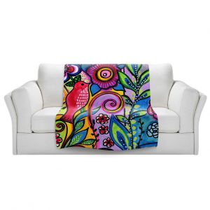 Artistic Sherpa Pile Blankets | Robin Mead - Color Floral | Floral Pattern Flowers Nature