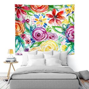 Artistic Wall Tapestry | Robin Mead - Daydreams | flower pattern repetition
