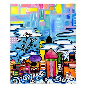 Artistic Sherpa Pile Blankets | Robin Mead - Downtown | City Scape, Skyline