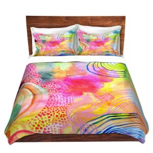Artistic Duvet Covers and Shams Bedding | Robin Mead - Ethereal | abstract shapes watercolor ripples