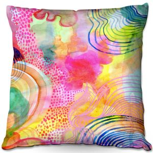 Decorative Outdoor Patio Pillow Cushion | Robin Mead - Ethereal | abstract shapes watercolor ripples