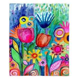 Decorative Fleece Throw Blankets | Robin Mead - Fabuloso | Floral Flower Colorful