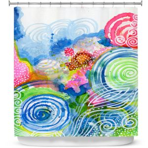 Premium Shower Curtains | Robin Mead - Far and Away | abstract shapes spiral dots