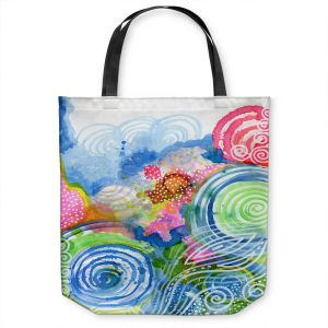 Unique Shoulder Bag Tote Bags | Robin Mead - Far and Away | abstract shapes spiral dots