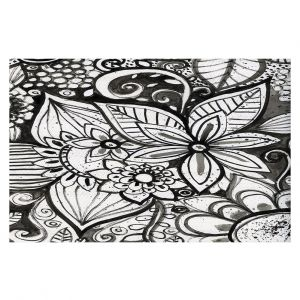 Decorative Floor Coverings | Robin Mead - Flower Black White | Close Up Floral Pattern Nature